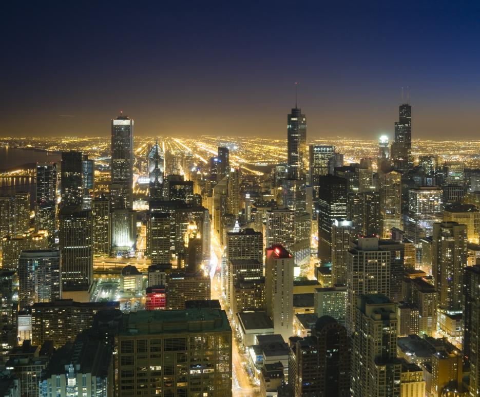 Chicago, Illinois at night