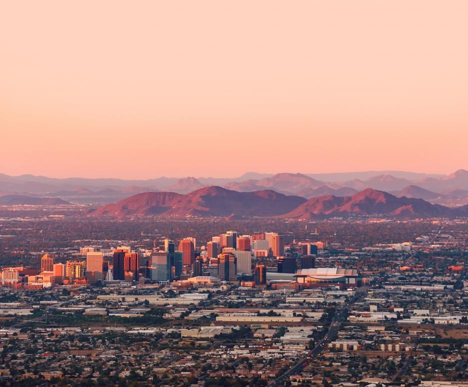 Dusk view of Phoenix, Arizona