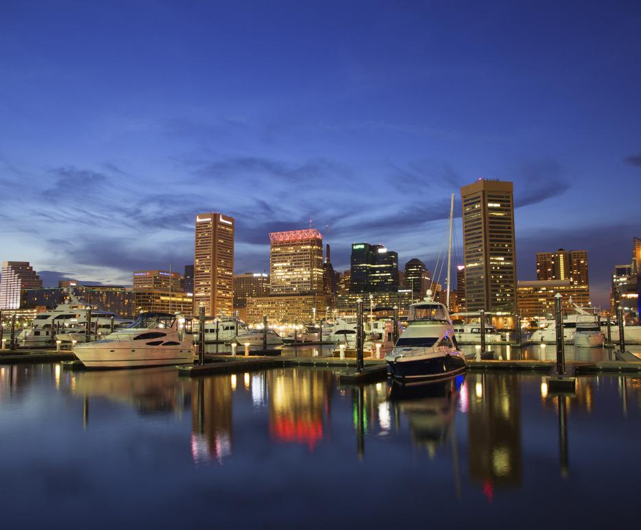 Night view of Baltimore, Maryland