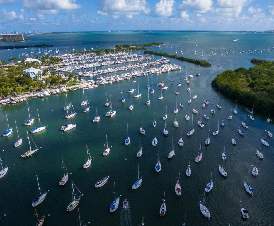 Arial view of harbor in Fort Pierce, Florida