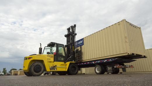 Container on a Truck Fork Lift
